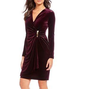 Calvin Klein Velvet Long Sleeve Faux Wrap Dress